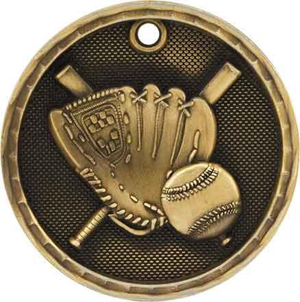 """2"""" 3D Baseball/Softball Medal 25"""