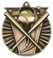 "2"" Baseball/Softball Victory Medal - Academics, Antique Gold 1"