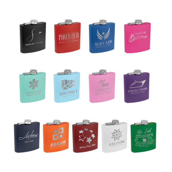 6 oz. Matte Powder Coated Stainless Steel Flask 13