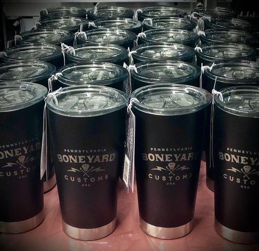 Boneyard Customs engraved insulated steel mugs