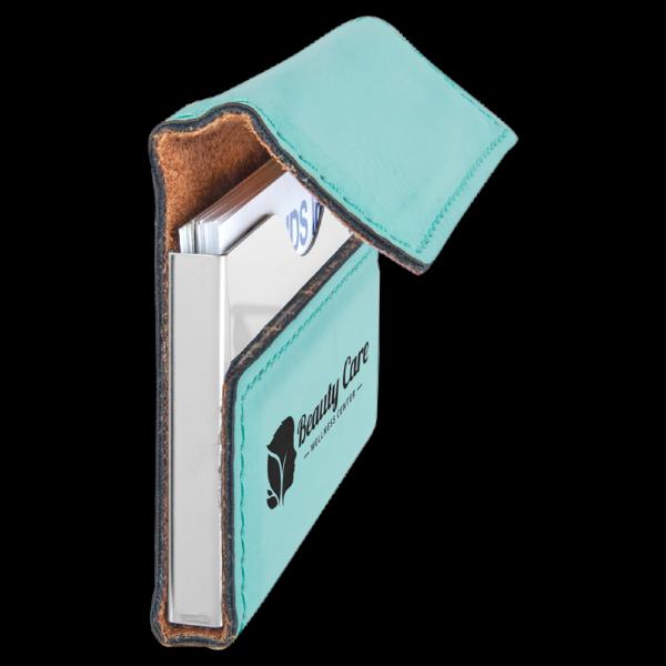 Laserable Leatherette Hard Business Card Holder