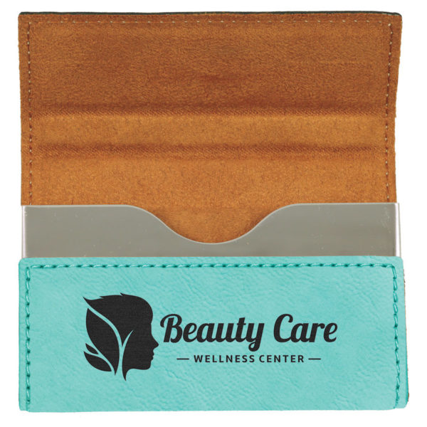 Laserable Leatherette Hard Business Card Holder - Bamboo 9