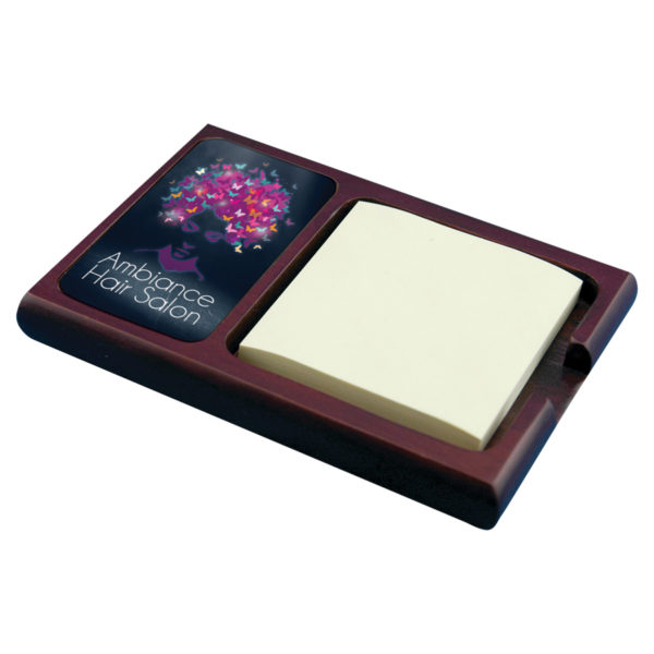 Mahogany Sticky Note Holder with Full Color Insert